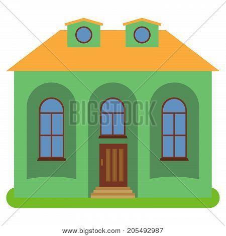 Private house with a yellow roof and green walls on a white background. Vector illustration.