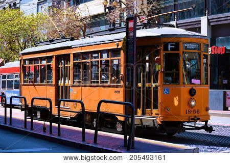 September 17, 2017 in San Francisco, CA:  Railway Street Car which is part of the transit system taken in San Francisco, CA where people can ride these historic rail street cars between the Castro and Fisherman's Warf on Market Street