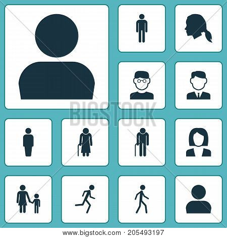 Person Icons Set. Collection Of Work Man, User, Old Woman And Other Elements