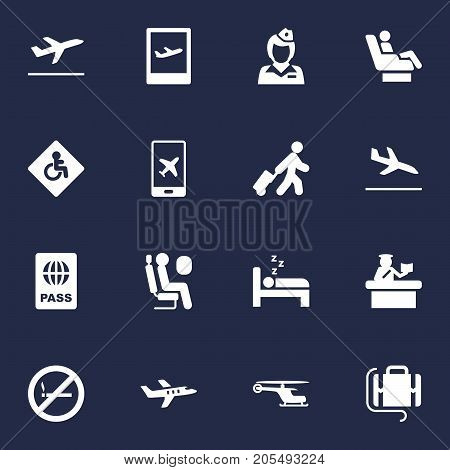 Collection Of Aircraft, Security, Airplane And Other Elements.  Set Of 16 Plane Icons Set.