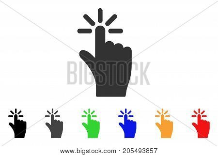 Click icon. Vector illustration style is a flat iconic click symbol with black, gray, green, blue, yellow color variants. Designed for web and software interfaces.