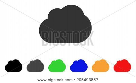 Cloud icon. Vector illustration style is a flat iconic cloud symbol with black, gray, green, blue, yellow color variants. Designed for web and software interfaces.