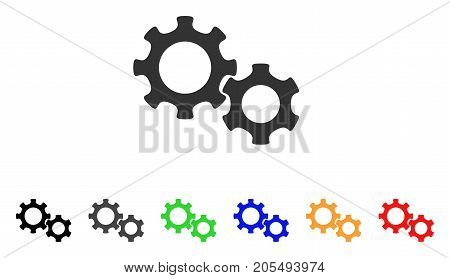 Gears icon. Vector illustration style is a flat iconic gears symbol with black, grey, green, blue, yellow color variants. Designed for web and software interfaces.