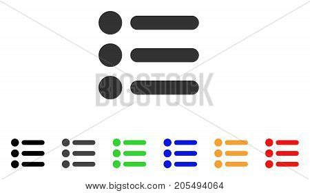 Items icon. Vector illustration style is a flat iconic items symbol with black, gray, green, blue, yellow color versions. Designed for web and software interfaces.