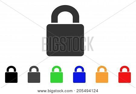 Lock icon. Vector illustration style is a flat iconic lock symbol with black, gray, green, blue, yellow color versions. Designed for web and software interfaces.