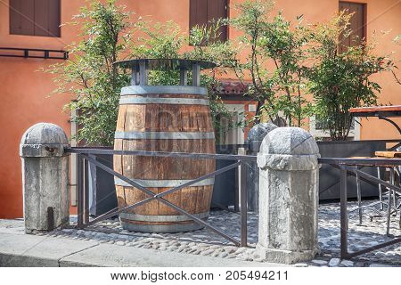 moder street design with barrel in vintage style