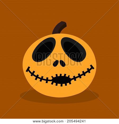 halloween pumpkin isolated on durk background pumpkin with happy face