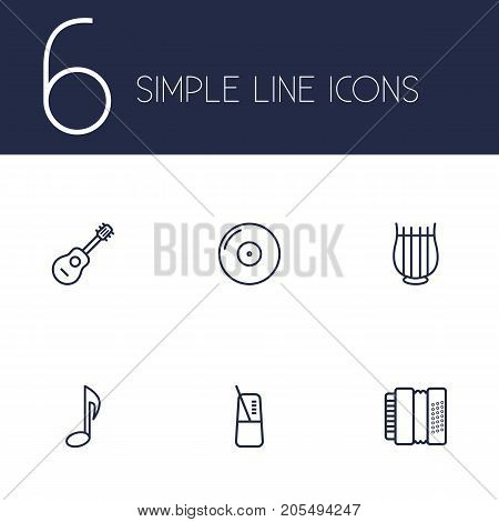 Collection Of Pace, Gramophone, Musical Sign And Other Elements.  Set Of 6 Melody Outline Icons Set.