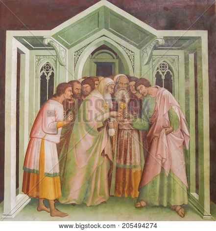 Fresco In San Gimignano - Judas Betrays Jesus