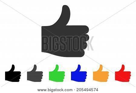 Thumb Up icon. Vector illustration style is a flat iconic thumb up symbol with black, grey, green, blue, yellow color versions. Designed for web and software interfaces.