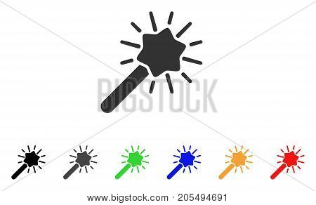 Wizard Tool icon. Vector illustration style is a flat iconic wizard tool symbol with black, grey, green, blue, yellow color versions. Designed for web and software interfaces.