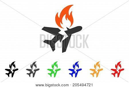 Airplane Fire Crash icon. Vector illustration style is a flat iconic airplane fire crash symbol with black, grey, green, blue, red, orange color variants. Designed for web and software interfaces.