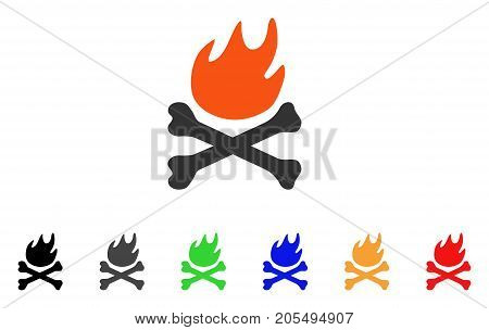 Bones Hell Fire icon. Vector illustration style is a flat iconic bones hell fire symbol with black, grey, green, blue, red, orange color versions. Designed for web and software interfaces.