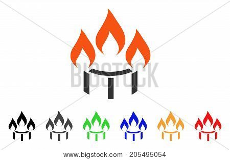 Burner Nozzle Fire icon. Vector illustration style is a flat iconic burner nozzle fire symbol with black, gray, green, blue, red, orange color additional versions.