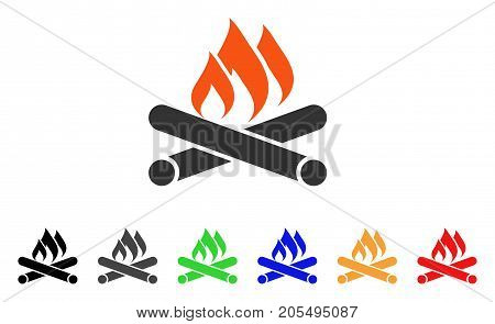 Campfire icon. Vector illustration style is a flat iconic campfire symbol with black, gray, green, blue, red, orange color additional versions. Designed for web and software interfaces.