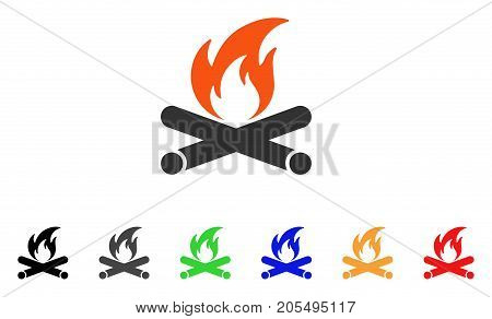 Campfire icon. Vector illustration style is a flat iconic campfire symbol with black, gray, green, blue, red, orange color versions. Designed for web and software interfaces.