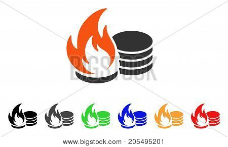 Coins Fire Disaster icon. Vector illustration style is a flat iconic coins fire disaster symbol with black, gray, green, blue, red, orange color additional versions.