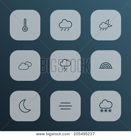 Air Outline Icons Set. Collection Of Rain, Stormy, Rainstorm And Other Elements