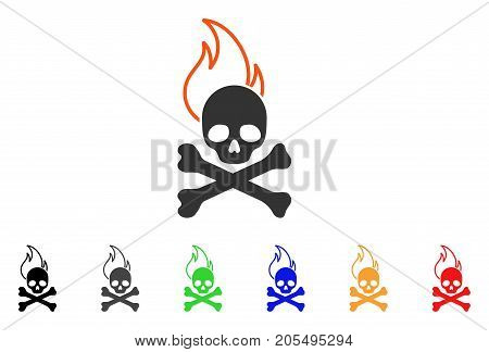 Death Fire icon. Vector illustration style is a flat iconic death fire symbol with black, grey, green, blue, red, orange color versions. Designed for web and software interfaces.