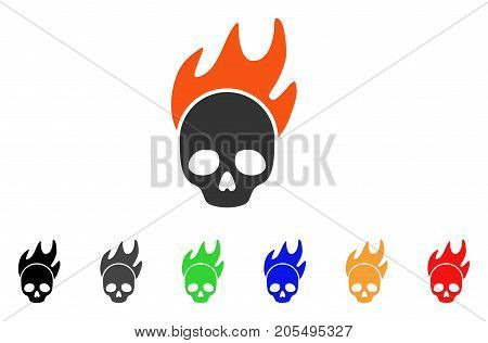Death Fire icon. Vector illustration style is a flat iconic death fire symbol with black, grey, green, blue, red, orange color additional versions. Designed for web and software interfaces.