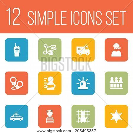 Collection Of Manacles, Walkie-Talkie, Victim And Other Elements.  Set Of 12 Criminal Icons Set.