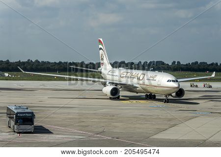 Duesseldorf GERMANY 03.09.2017 Airplane of Etihad Airways in the airport the second-largest airline, of the United Arab Emirates