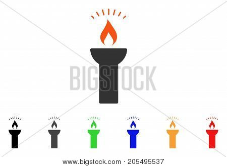 Fire Torch Light icon. Vector illustration style is a flat iconic fire torch light symbol with black, grey, green, blue, red, orange color additional versions.