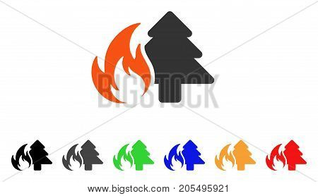 Forest Fire icon. Vector illustration style is a flat iconic forest fire symbol with black, gray, green, blue, red, orange color versions. Designed for web and software interfaces.