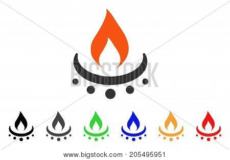 Gas Burner Jet Flame icon. Vector illustration style is a flat iconic gas burner jet flame symbol with black, gray, green, blue, red, orange color additional versions.