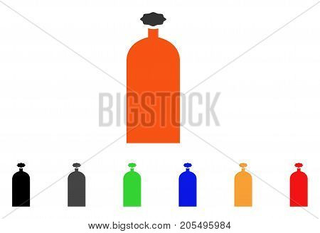 Gas Cylinder icon. Vector illustration style is a flat iconic gas cylinder symbol with black, grey, green, blue, red, orange color variants. Designed for web and software interfaces.
