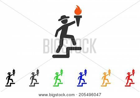 Gentleman Climbing With Torch icon. Vector illustration style is a flat iconic gentleman climbing with torch symbol with black, gray, green, blue, red, orange color variants.