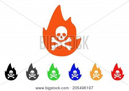 Hellfire icon. Vector illustration style is a flat iconic hellfire symbol with black, gray, green, blue, red, orange color variants. Designed for web and software interfaces.