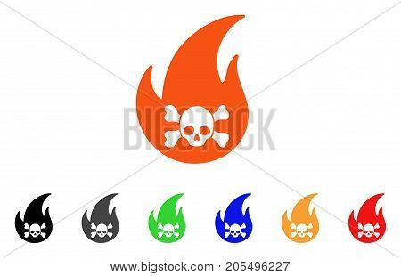 Hellfire icon. Vector illustration style is a flat iconic hellfire symbol with black, gray, green, blue, red, orange color versions. Designed for web and software interfaces.