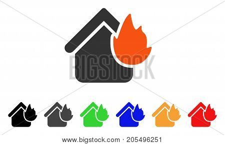 Home Fire Disaster icon. Vector illustration style is a flat iconic home fire disaster symbol with black, gray, green, blue, red, orange color additional versions.