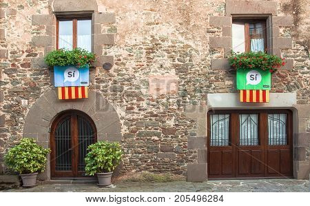 RUPIT CATALONIA SPAIN - SEPTEMBER 2017. Town inhabitants demonstrate they will vote YES for Catalunya's independence. Catalonia will hold an independence vote 1 October.