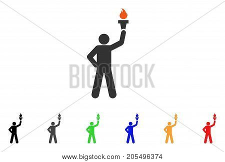 Leader With Freedom Torch icon. Vector illustration style is a flat iconic leader with freedom torch symbol with black, gray, green, blue, red, orange color variants.