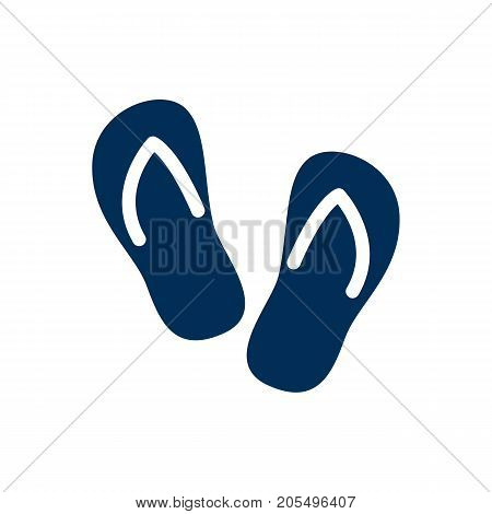 Vector Flip Flop Element In Trendy Style.  Isolated Thongs Icon Symbol On Clean Background.
