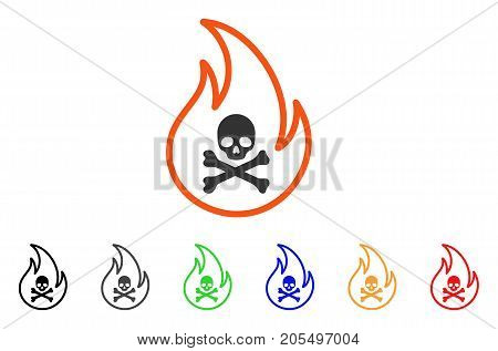 Toxic Fire icon. Vector illustration style is a flat iconic toxic fire symbol with black, grey, green, blue, red, orange color additional versions. Designed for web and software interfaces.