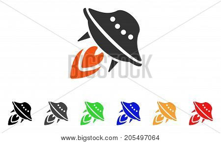 UFO Start icon. Vector illustration style is a flat iconic ufo start symbol with black, gray, green, blue, red, orange color variants. Designed for web and software interfaces.
