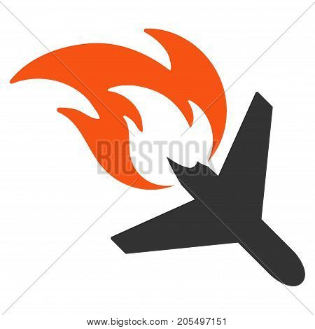 Airplane Fire Disaster flat vector icon. An isolated illustration on a white background.