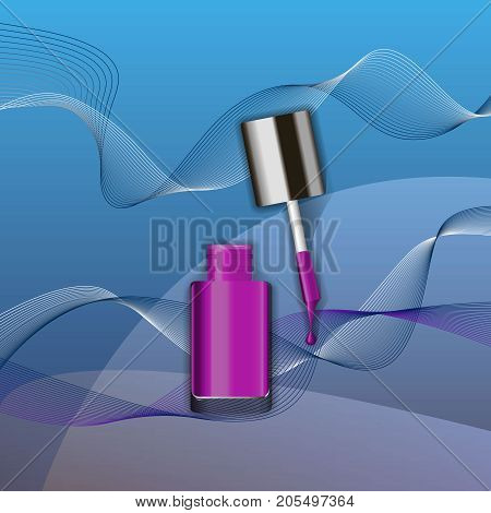Purple nail polish in glass bottle open lid and color blot of nail polish on beautiful abstract background. Vogue vector ullustration for magazine, catalog etc.
