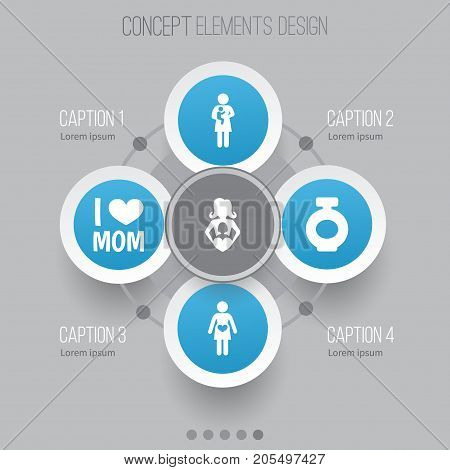 Mothers Day Icon Design Concept. Set Of 5 Such Elements As Newborn Baby, Fragrance And Nanny