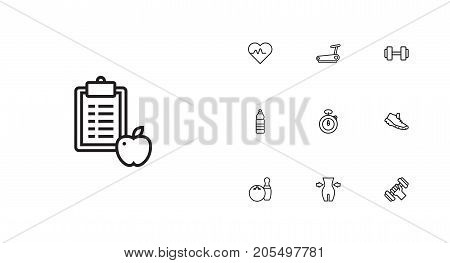 Collection Of Weight Loss, Trekking Shoes, Diet And Other Elements.  Set Of 10 Fitness Outline Icons Set.