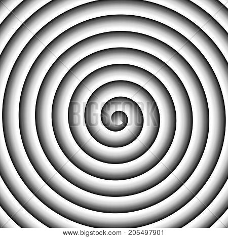 Shaded black and white spiral vector hypnothic background.