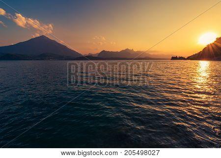 Calm Lake Thun Sunset in the Switzerland Jungfrau Area. Summer Scenery.