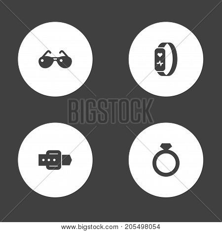 Collection Of Diamond, Gadget, Strap And Other Elements.  Set Of 4 Ornamentation Icons Set.