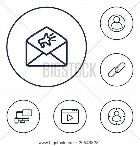 Collection Of Targeting, Web Design, Url And Other Elements.  Set Of 6 Optimization Outline Icons Set.