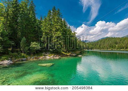 Scenic Eibsee Lake in Bavaria Germany near Garmisch-Partenkirchen. German Alps