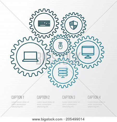 Computer Outline Icons Set. Collection Of Datacenter, Peripheral, Keypad And Other Elements