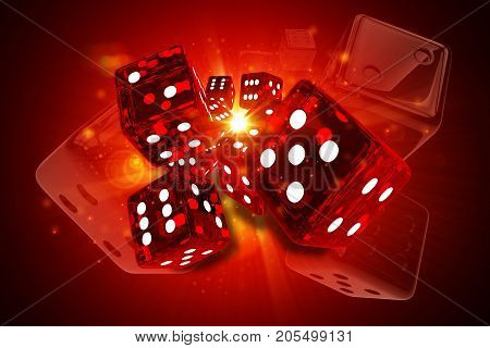 Hot Dices Casino Games 3D Rendered Concept Illustration. Glassy Reddish Craps Dices.